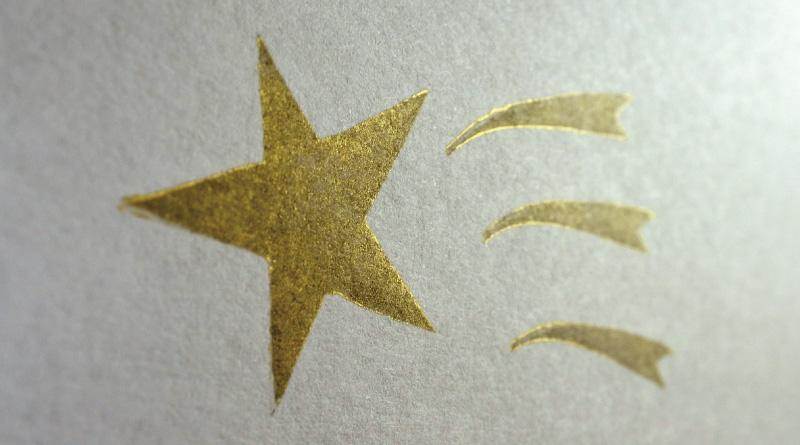 ゴールドで捺した紙