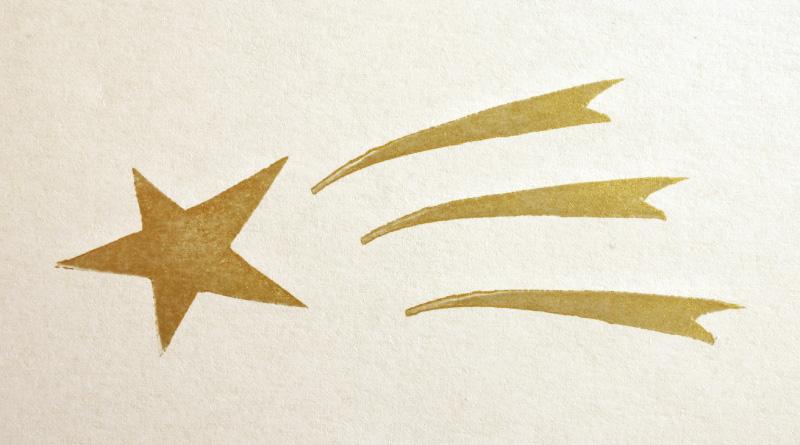 トレジャー ゴールドで消しゴムはんこを捺す